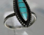 Vintage Sterling and Resin Ring- Southwestern Design