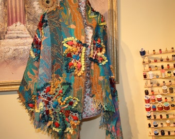 Brand New  Handmade Embroidery Flower Leave Shawl, Teal Burgundy Yellow Red Pure Wool Shoulder Shawl, Gift Idea