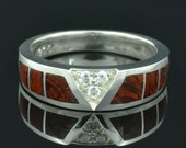 Man's Dinosaur Bone Ring With White Sapphire Accents in Sterling Silver by Hileman Silver Jewelry