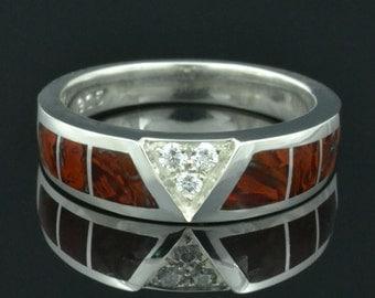 Dinosaur Bone Ring With White Sapphire Accents in Sterling Silver,  Dinosaur Bone Wedding Ring, Dinosaur Bone Wedding Band