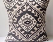 Ikat Pillow Cover Black Gray Pillow Decorative Throw Pillow Cushion Accent