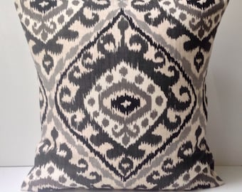 Ikat Pillow Cover Black Gray Pillow Decorative Throw Pillow Cushion Accent
