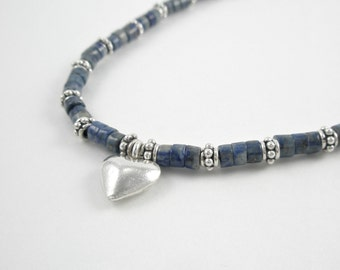 Blue and Sterling Silver Chain for a Heart Necklace
