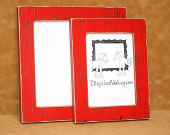 "Picture Frame 8.5x11 or 8x12 in our ""Colored Barn wood"" Red or choose color 1.5"" wide distressed colored weathered frame"