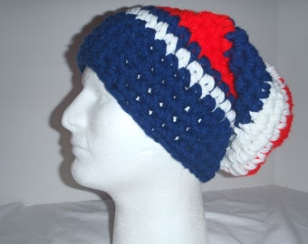 Super thick striped slouch hat  - red, white and navy blue  - Go USA  - just in time for the winter olympics - Super warm and comfortable