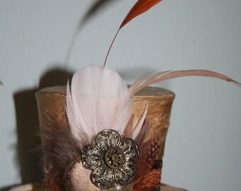 Cream Silk Steampunk Womens Mini Hat