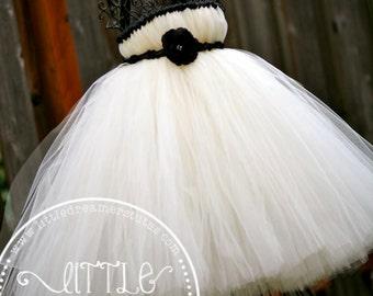 Elegant Ivory Flower Girl Tutu Dress w/ Black Accents