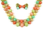 Fruity Beauty - Vintage 1960s Double Strand Necklace & Earring Set, Pastel Spring Colors: Honeydew, Canteloupe, Peach, Lemon, Lime