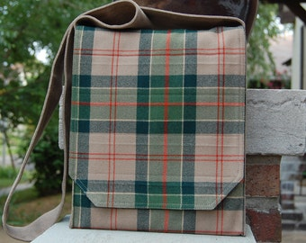 Green and Taupe Plaid Wool Messenger Bag