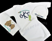 Personalized Fishing Themed Baby Gown Hat and Burpcloth (OR Bib) Set