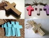 Christening Gift Tag Plantable Cross Favors - Custom Order - Plantable Paper with Wildflower Seeds to Match Your Wedding or Shower Colors