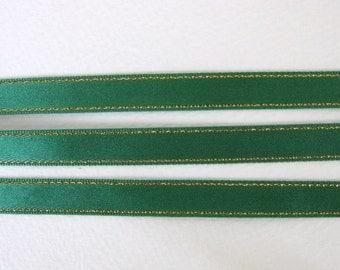 Vintage Satin Ribbon Emerald Green Gold Metallic Trim Scrapbooking Japan 3/8 inch rib0111 (2 yards)