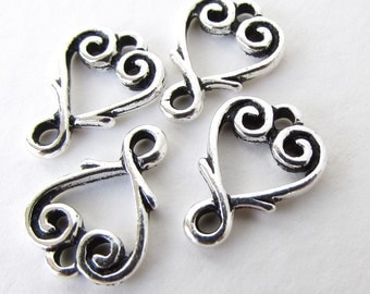 Vine Heart Charm Connector Link Antiqued Silver TierraCast Finding 13mm cnn0123 (4)
