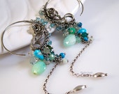 Silver Hoop Earrings Turquoise Earrings Gemstone Earrings Gemstone Jewelry