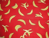 """Tossed BANANA  Sock Monkey Fabric on Red by Moda     FAT QUARTER  18"""" x 22"""""""
