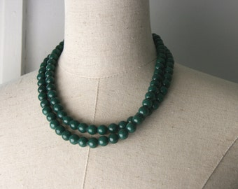 Dark Green Double Strand Beaded Necklace