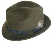 "23"" -  Vintage Knox Dark Olive Green Fur Felt Mens Fedora Hat"