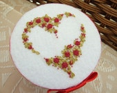 Box Decorated with Heart Shaped Garland of Red Flowers  on White Felt