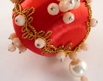vintage beaded ornament, red satin ornament, vintage Christmas ball, vintage beads, vintage home decor, hanging ornament, handmade ornament