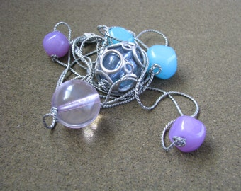 Unusual multi strand silver necklace with teal purple pink big beads
