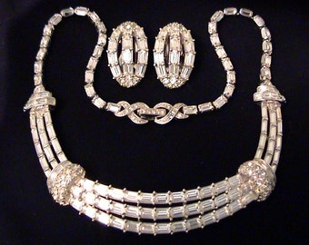 Vintage PENNINO Crystal Baguette Rhinestone Necklace Earrings Demi Parure