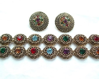 Designer JUDY LEE Statement Rhinestone Jewelry Set, Rainbow Bracelet Clip Earrings Rope Braid Nest Demi Parure