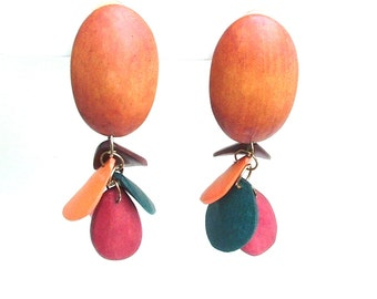 Big Vintage Dangle Earrings Colored and Natural Wood Jewelry - Wood Earrings - Statement Jewelry