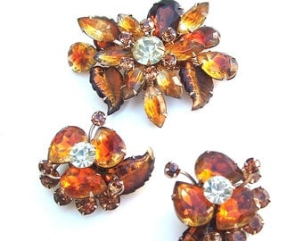 Vintage Rhinestone Brooch Earring Jewelry Set Ombre Citrine Topaz Honey Amber Faux Diamond Autumn Sunset Gold