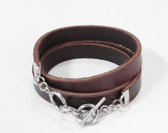 Brown Wrap Leather Bracelet Leather Cuff Bracelet with Stainless Toggle Clasp