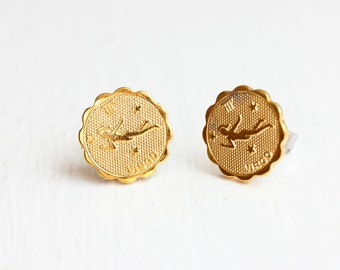 Gold Astrology Studs - Virgo