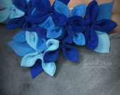 blue shades necklace felted felt fashon design woman wedding flowers flower