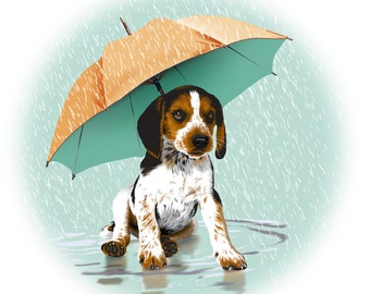 Beagle Puppy in the Rain