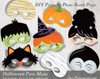 diy halloween printable masks photo booth props pp007 instant download kids mask patterns - Halloween Photography Props
