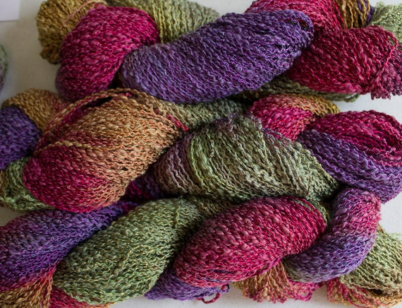 Boucle Yarn : Sparrow, Hand-dyed Cotton & Rayon Boucle Yarn, 225 yds - Orchard