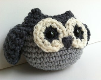 Amigurumi Crochet Slate Gray Owl Plush Toy Kawaii Plush Owl Nursery Decor Stuffed Animal Owl Plushie Owl Gift Under 25 Woodland Owl Doll