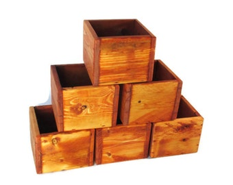 Wedding Decor -  Lot of 6 Small Centerpiece Boxes - Wood Wedding Decor