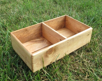 Rustic Wood Box Organizer for Drawers, Craft Room, or Display