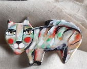 Original Wall art Painted Cat made with paper clayOOAK by miliaart studio