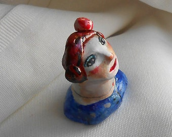 Original art clay mini sculpture lady in blue with apple made OOAK by miliaart studio