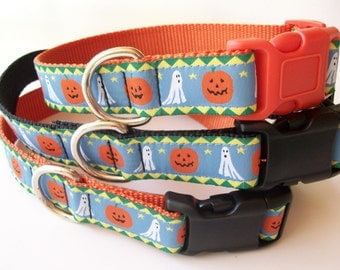 Pumpkins and Ghosts Dog Collar for Halloween - Side Release Buckle Style In M - L - XL