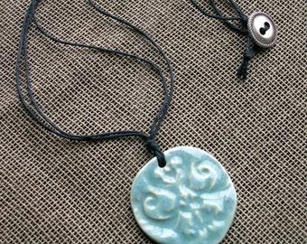 """Ceramic Damask Motif Pendant Necklace, Robin's Egg Blue, 18"""""""