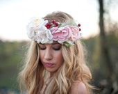 Romance flower crown large bridal halo YOU CHOOSE the options