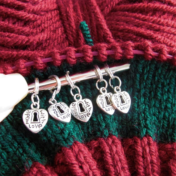 Silver Heart Knitting Stitch Markers Made With Love Silver