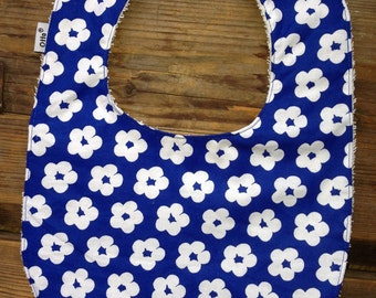 Retro blue floral Baby Bib from Finland, cotton and terry lining, snap