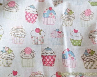 French Style Shabby Chic Afternoon Tea Rose Floral Polka Dots Fruit Cupcake Muffins-Linen Cotton Blended Fabric (Fat Quarter)
