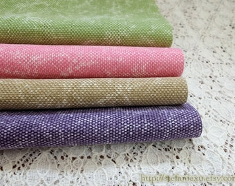 Solid Fabric, Simple Chic Color Collection With Natural Washed Wrinkle- Japanese Water Washed Cotton Canvas Fabric(Fat Quarter)
