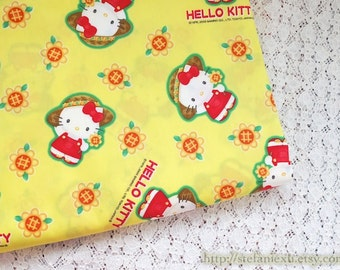 Lovely Summer School Red Dressed Sunflower Hello Kitty On Bright Yellow- Japanese Cotton Fabric (Fat Quarter)