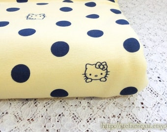 SALE Clearance 1 Yard Lovely Hello Kitty Cat Polka Dots On Yellow - Japanese Lycra Knit Jersey Cotton Fabric (35.4x59 Inches)