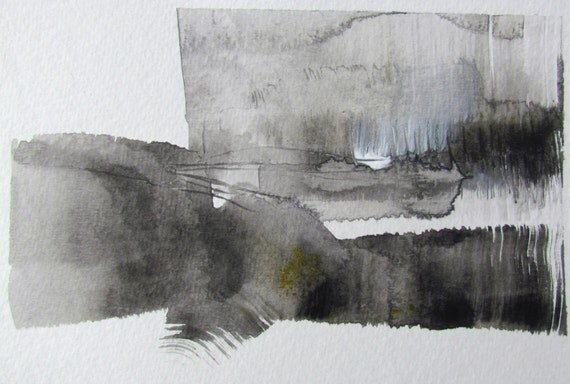 """Abstract Black and White Watercolor Painting -- """"Painting 588"""""""