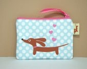 Doxie Dachshund Coin Purse - Love a Doxie Baby Blue Polka Dot